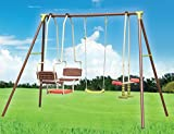Children Metal Frame XXL Swing Glider Outdoor Garden Play Activity Center with 1 Swing, 1 See-Saw & Double Seat Glider
