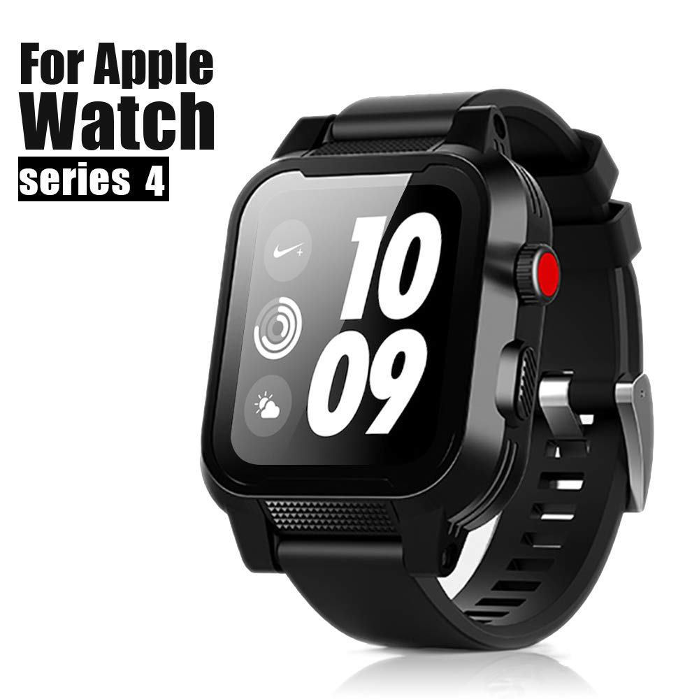 Apple Watch Waterproof Case 40mm, iWatch Case IP68 Waterproof Shockproof Impact Resistant Protective Case with Strap Bands for Apple Watch Waterproof Case 40mm Series 4 (40mm-Black) by MIZUSUPI