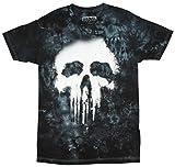 Jem Men's Marvel Punisher Tie-Dyed Halftone Graphic-Print T-Shirt (Small) Grey, White
