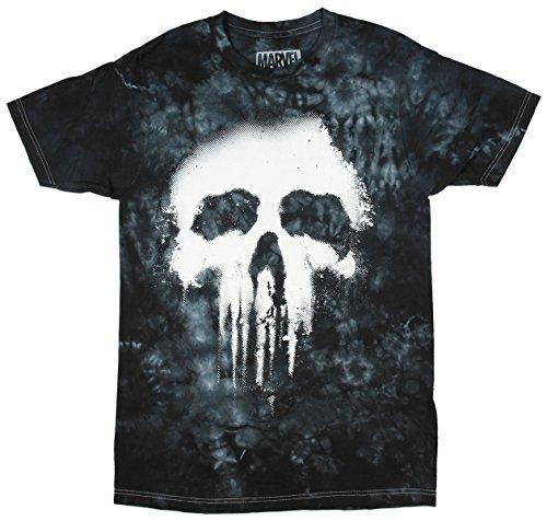 Jem Men's Marvel Punisher Tie-Dyed Halftone Graphic-Print T-Shirt (Medium)