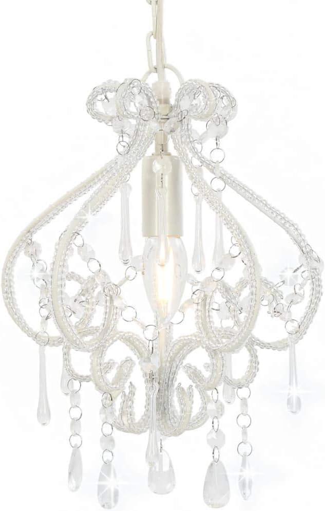 vidaXL Deckenleuchte mit Perlen Kristall Kronleuchter L/üster H/ängelampe H/ängeleuchte Pendelleuchte Pendellampe Wohnzimmer Lampe Wei/ß Rund E14