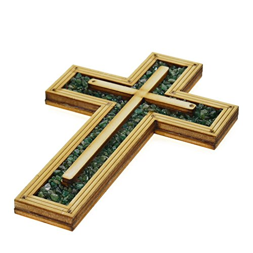 Decorative christian wooden Wall Cross Embedded with Special Energy Green Natural TOURMALINE Stones Gems 6.5