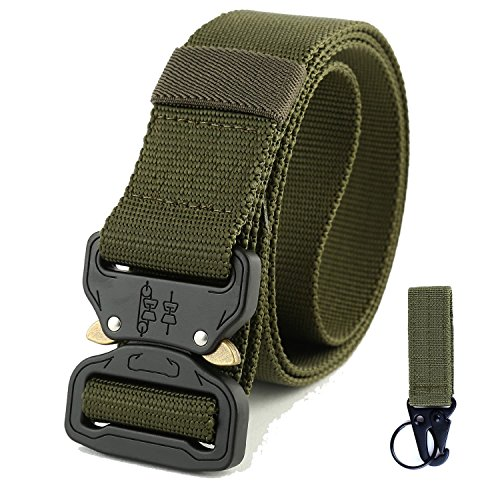 Men's Tactical Belt, Military Style Webbing Riggers Web Belt with Heavy-Duty Quick-Release Metal Buckle (Green with Hanging buckle)
