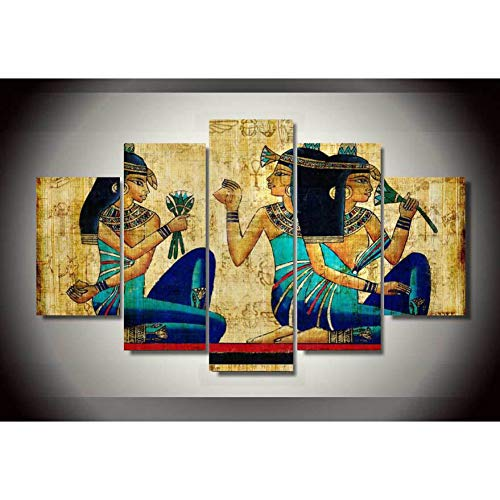 HIOJDWA Paintings 5 Panels Abstract Papyrus Egyptian Wall Art Picture Home Decoration Living Room Canvas Print Wall Picture Printing On Canvas ()