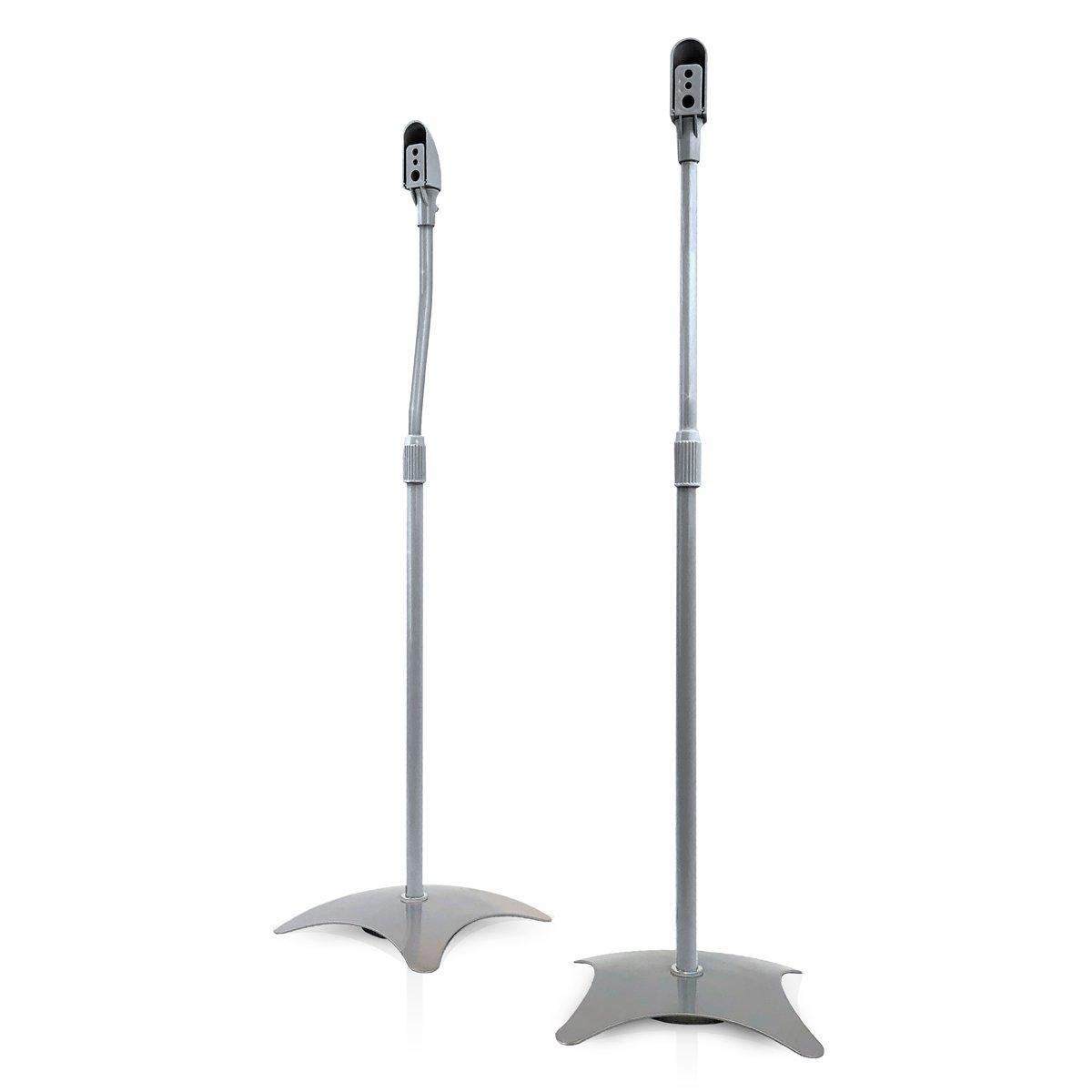 9HORN Pair of Metal Speaker Stands Height Adjustable (Silver, 1 Pair) by 9HORN