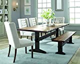 Burnham Live Edge Dining Table with Trestle Base Natural Honey and Smokey Black For Sale