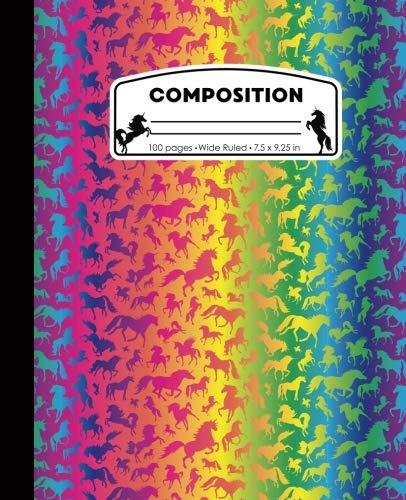 Composition: Unicorns Neon Rainbow Marble Composition Notebook for Girls. Magical Fantasy Wide Ruled Baseball Book 7.5 x 9.25 in, 100 pages, journal for kids, elementary school students and teachers
