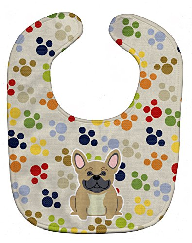 Caroline's Treasures Pawprints Baby Bib, French Bulldog Cream, Large (Cream Bib)