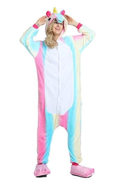 YOGLY Pijama Unicornio para Adultos Pijama Animal Invierno Entero de Franela Unisex Pijama Mono Animal Disfraz