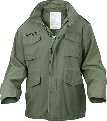Olive Drab Vintage Military Field Jacket Army Coat ()