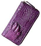 PIJUSHI Womens Clutch Wallet Crocodile Leather Long Wallet Card Holder Purse (8025, Purple Croco + alligator grab)
