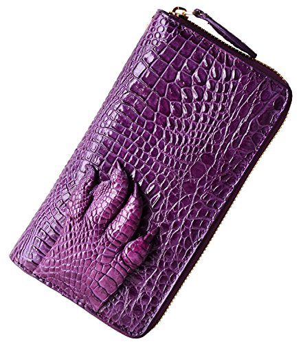 PIJUSHI Womens Clutch Wallet Crocodile Leather Long Wallet Card Holder Purse (8025, Purple Croco + alligator grab) by PIJUSHI