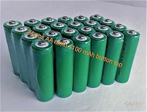 BULK PACK - 24 PCS Button Top AA NiMh 1100 mAh 1.2 V Rechargeable Batteries for Solar, etc
