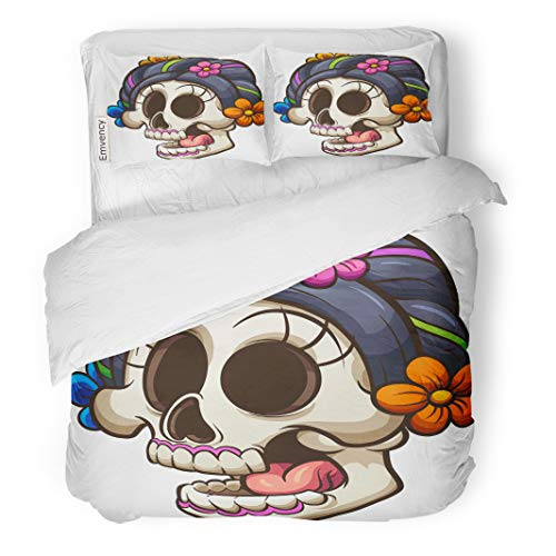 Emvency Bedding Duvet Cover Set Halloween Traditional Mexican Catrina Skull Clip Simple Gradients All in Single Layer Cartoon 3 Piece Set with 2 Pillow Shams King 104