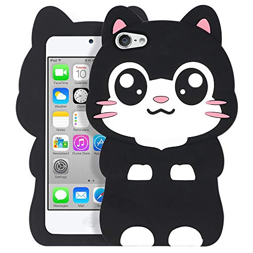 (iPod Touch 5 Cat Case, iPod Touch 6 Animal Case, Cute 3D Cartoon Kitty Meow Black Cat Soft Silicone Rubber Phone Cover Case for iPod Touch 5 Generation/iPod Touch 6 Generation (Pocket Cat))
