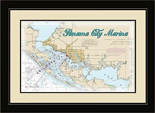 Northwest Art Mall FL-8971 FGDM Panama City Marina Florida Framed Wall Art, 16