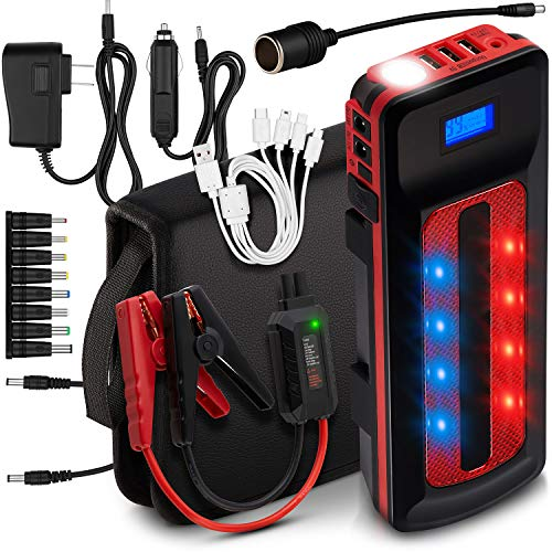 1000A Peak 21600mAh Car Jump Starter Portable Power Bank External Battery Charger Pack (Up to 8.0L Gas, 6.0L Diesel Engine) 12V Smart Emergency Auto Start Phone Booster, Cables, Cigarette Lighter (Illuminate Starter Kit)