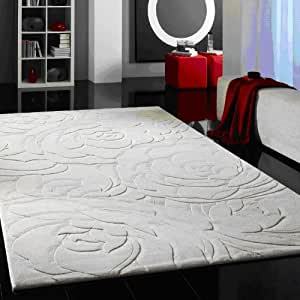 Amazon Com Modern Contemporary Area Rug Hand Tufted White