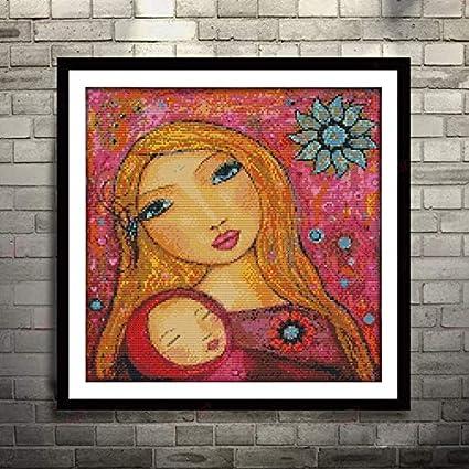 WXQHYD Punto de Cruz Pintura de la Acuarela de la Madre y la Hija Lienzo DMC Puntada en Cruz Kits de Punto de Cruz Impreso Conjunto Bordado de la Costura