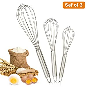 ONME Stainless Steel  Balloon Wire Whisk for Blending, Whisking, Beating, Stirring, Set of 3 8-inch/10-inch/12-inch