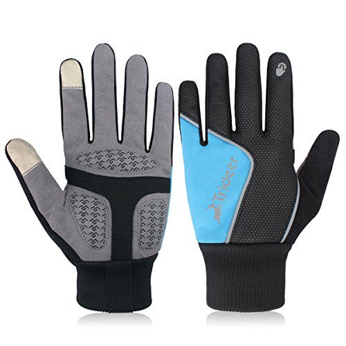 Cycling Gloves (Full Finger)– TRIDEER Ultra Light Breathable Lycra & Anti-Slip Shock - Absorbing Silica Gel Grip, Mountain Road Gloves Biking Gloves