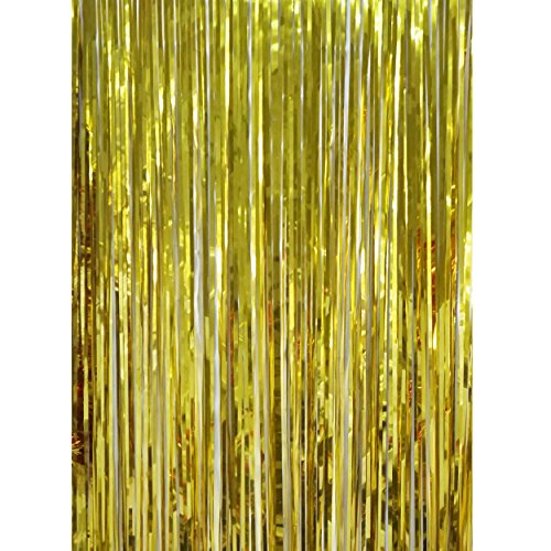 Metallic Foil Fringe Shiny Gold Curtain with Two Bonus Fringe Garlands for Parties and Event Decorations Photo Booth