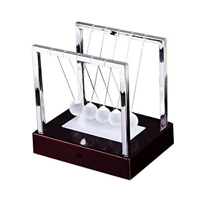 12x12x9cm Newtons Cradle LED Light Up Kinetic Energy Science Toys for la decoración de la Oficina en casa (Color : Red): Juguetes y juegos