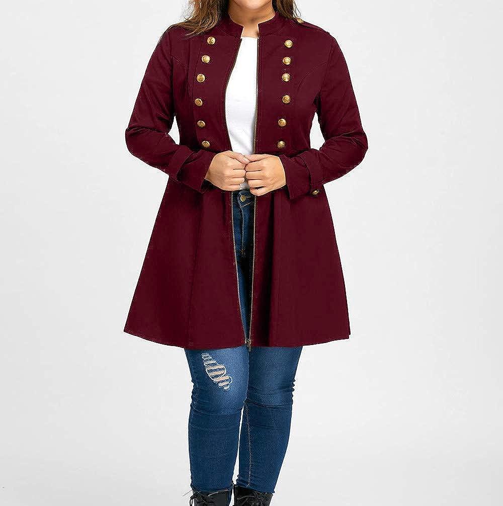 BODOAO Plus Size Vintage Coats Women Longline Coat Double Breasted Flare Windbreaker