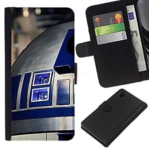 Protector de cuero de la PU de la cubierta del estilo de la carpeta del tirón BY RAYDREAMMM - Sony Xperia Z1 L39 - R2D2