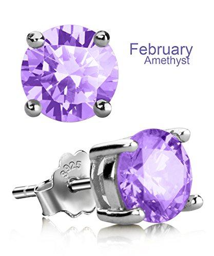 UHIBROS Sterling Silver Birthstone Stud Earrings Round Cubic Zirconia Diamond February (Purple Cubic Zirconia Stud)