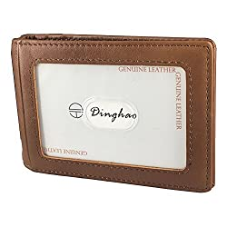 Dinghao RFID Blocking Leather Money Clip Wallet for Men Slim Bifold ID Card Holder Brown