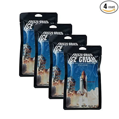 Four packs of freeze-dried astronaut ice cream