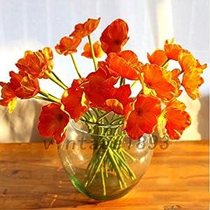 FidgetGear 10PCS Artificial Poppy Silk Flowers Wedding Bouquet Home Party Decor Gift Orange 106