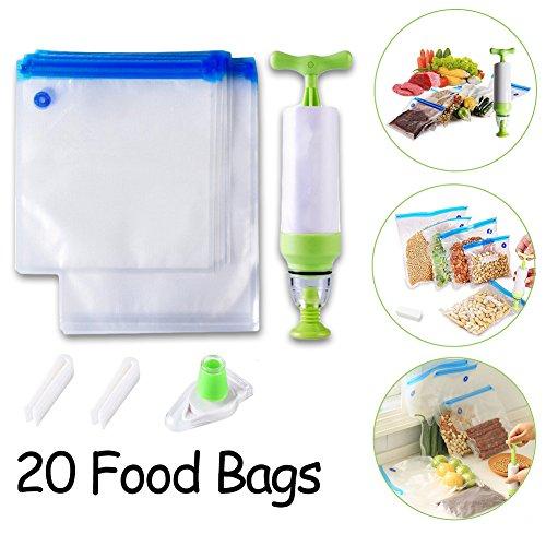 Sous Vide Bags Set, Tosci 20 Essential Reusable Food Vacu...