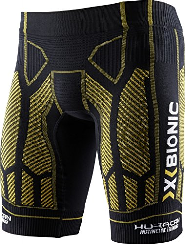 X-Bionic Hombre oberbekleidung Lamborghini Running Pantalones Cortos Black-Yellow Sunshine B317