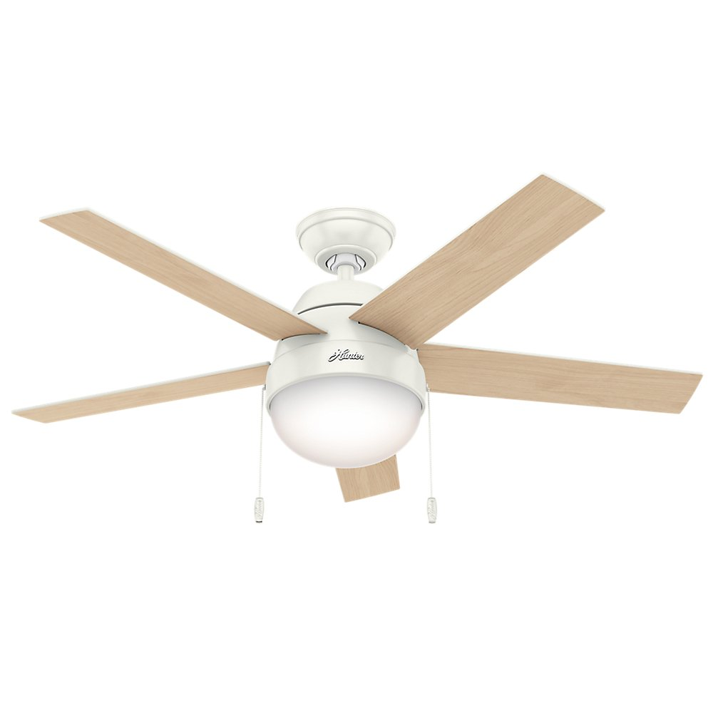 Hunter Indoor Ceiling Fan with light and pull chain control – Anslee 46 inch, White, 59266