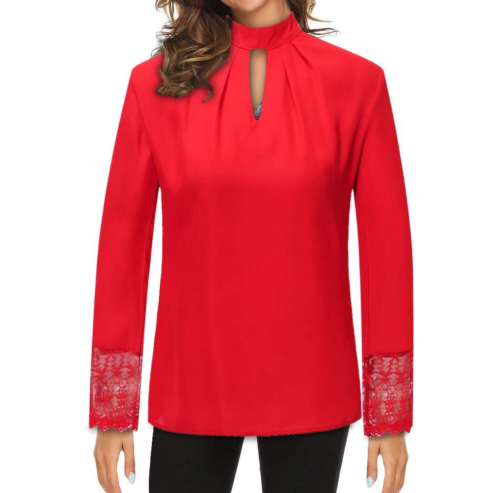 d08cd2c5abf06 Innerternet Women Shirt Plus Size Chiffon Long Sleeve Splice Lace Crop Tops  Blouse Beige  Amazon.co.uk  Clothing