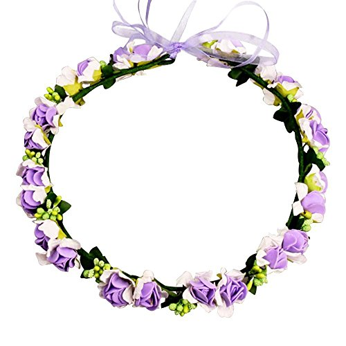 JustVH Exquisite Flower Crown Flower Headband Bridal Wreath with Adjustable Ribbon