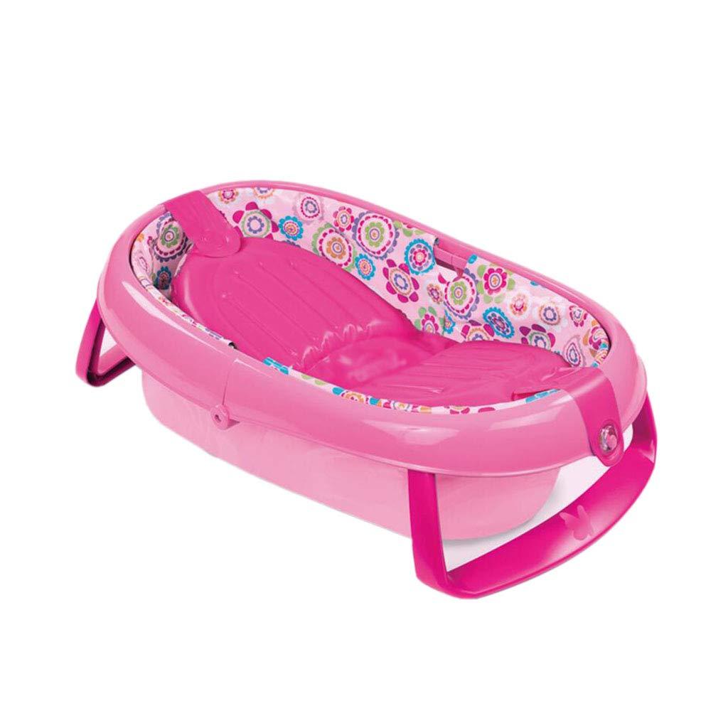 携帯用滑り止めの新生児の膨脹可能な浴槽の赤ん坊の折り畳み式浴槽はうそをつくことができます赤ん坊の風呂 Pink  Pink B07THS5W46