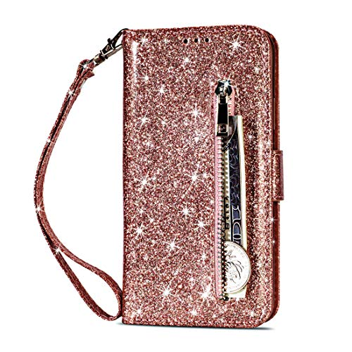 iPhone 6S Case,AIIYG DS,Luxury Bling Glitter Sparkle Leather Wallet Case with Stand and Card Slots Photo View Window, Flip Cover for Apple iPhone 6/6S Rose Gold