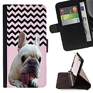 Pattern Queen - FRENCH BULLDOG Chevron - FOR HTC One M8 - Hard Case Cover Shell