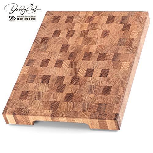 Daddy Chef End Grain Wood cutting board - Wood Chopping block - Large cutting board 16 x 12 Kitchen butcher block Oak cutting board non slip cutting board with feet - Kitchen Wooden chopping board (Best End Grain Cutting Board)