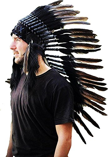 N73 Medium Black Feather Headdress | Native American Indian Inspired -