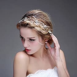 Bridalvenus Wedding Bridal Silver Headband - Bridal pearl halo - Bridal hair Updo accessory Wedding Bridesmaid Headpiece for Women and Girls (Silver)