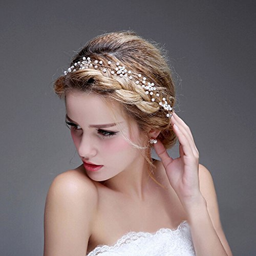 Bridalvenus Wedding Bridal Gold Headband - Bridal pearl halo - Bridal hair Updo accessory Wedding Bridesmaid Headpiece for Women and Girls (Gold)