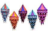 5pcs-25pcs Indian Ehnic Hanging Lamps shades Mirror Work Home Decor 4 Layer Lamp