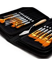 Artist Paint Brush Set ' 15 Different Shapes & Sizes ' FREE Painting Knife & Watercolor Sponge ' No Shed Bristles ' Wood Handles ' For Body Paint, Acrylics & Oil