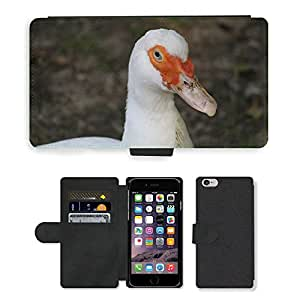 """PU LEATHER case coque housse smartphone Flip bag Cover protection // M00135439 Pato blanco del pájaro Aves // Apple iPhone 6 4.7"""""""