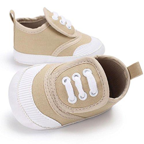 Igemy 1 Paar Baby Schuhe Jungen Mädchen Neugeborenen Crib Soft Sole Schuhe Sneakers Khaki
