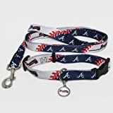 Atlanta Braves Pet Set Dog Leash Collar ID Tag MEDIUM